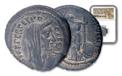 44 B.C. Roman Julius Caesar Lifetime Denarius NGC Ch AU Star