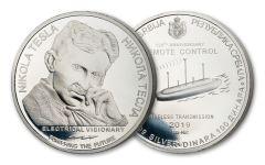 347188 – 2019 Serbia 1-oz Silver Nikola Tesla Remote Control Current Coin Gem BU