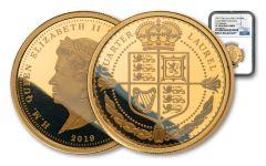2019 Tristan da Cunha 1/4-oz Gold Quarter Laurel NGC PF70UC First Releases