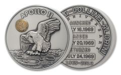 Apollo 11 Robbins Medal 50-oz Silver with Gold Space-Flown Alloy Uncirculated - 50th Anniversary Commemorative