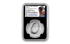 2019-P Apollo 11 50th Anniversary Silver Dollar NGC PF70UC First Day of Issue - Black Core, Astronaut Scholarship Foundation Label