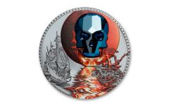 2019 Equatorial Guinea 1-oz Silver Crystal Skull La Luna de Sangre Colorized Black Proof