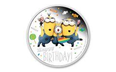 2019 Niue $2 1-oz Silver Minions™ Happy Birthday Proof