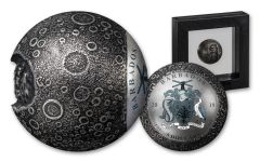 2019 Barbados $5 1-oz Silver Spherical Moon Antiqued