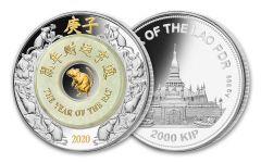 2020 Laos 2,000 Kip 2-oz Silver Lunar Rat with Jade Proof