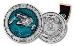 2019 Barbados $5 3-oz Silver Crocodile Antiqued Coin - Underwater  World Series