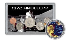 1972 Apollo 17 Last Moon Mission BU 5-Piece Tribute Set BU with Mission Patch