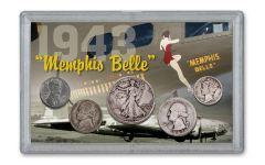 1943 WWII Memphis Belle 5-Coin Set w/Bonus Ration Token & German 1 Reichspfennig