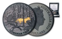 2019 Australia $5 1-oz Silver Nickel Plated Gold Tasmanian Tiger Echoes of Australian Fauna Proof