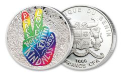 2019 Benin 1000 Francs 1-oz Silver Peace & Love Proof