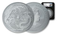 2019 Australia $10 10-oz Silver Dragon & Phoenix NGC MS70 One of First 98 Struck - Black Core, Opera House Label