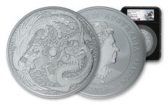2019 Australia $10 10-oz Silver Dragon & Phoenix NGC MS69 One of First 98 Struck w/Black Core & Sydney Opera House Label