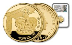2019 Great Britain £25 1/4-oz Gold Tower of London Crown Jewels NGC PF70UC One of First 35 Struck