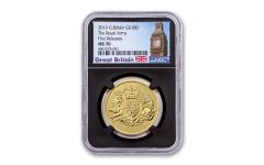 2019 Great Britain £100 1-oz Gold Royal Arms NGC MS70 First Releases - Black Core, Big Ben Label