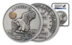 1969–2019 50-oz Silver Apollo 11 Robbins Medal Commemorative w/Space-Flown Alloy NGC Gem Uncirculated
