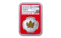 2019 Canada $20 1-oz Silver Gilt Double Incuse Maple Leaf Reverse Proof NGC PF69 First Releases w/Red Core & Canada Label