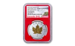 2019 Canada $20 1-oz Silver Gilt Double Incuse Maple Leaf Reverse Proof NGC PF70UC First Releases w/Red Core & Canada Label