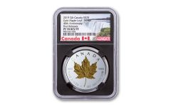 2019 Canada $20 1-oz Silver Gilt Double Incuse Maple Leaf Reverse Proof NGC PF70UC First Releases w/Black Core & Canada Label