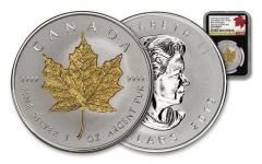 2019 Canada $20 1-oz Silver Maple Leaf Incuse Gilt Reverse Proof NGC PF70UC First Day of Production - Black Core, 40th Anniversary GML Label