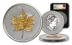 2019 Canada $50 3-oz Silver Maple Leaf Incuse Gilt Reverse Proof NGC PF70UC First Day of Issue - Black Core, 40th Anniversary GML Label
