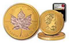 2019 Canada $200 1-oz Gold Maple Leaf Incuse Reverse Proof Rose Gold Plated NGC PF70UC First Day of Issue - Black Core, 40th Anniversary GML Label