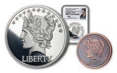 1907-2019 1-oz Silver Last Coin of Saint-Gaudens National Parks Medal NGC PF69UC – Mercanti Signed Label + Bonus 1/10-oz CuNi Antiqued Medal
