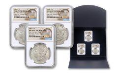 1883–1885-O $1 Morgan Silver Dollar New York Bank Hoard 3-pc Set BU