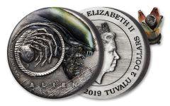 2019 Tuvalu $2 2-oz Silver Alien™ 40th Anniversary Antiqued Coin