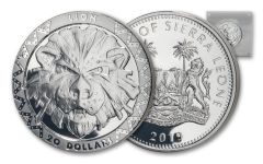2019 Sierra Leone $20 2-oz Silver Big 5 Lion High Relief Proof