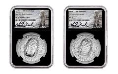 2019-P Apollo 11  50th Anniversary Silver Dollar 2-piece Set NGC MS70/PF70UC First Releases - Black Core, Charlie Duke Signed Label