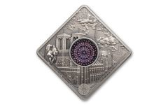 2017 Palau $10 50 Gram Silver Notre-Dame Cathedral Antiqued Ultra High Relief - Sacred Art Series