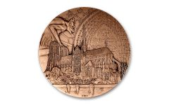 2019 France Pink Bronze Notre Dame Cathedral Reconstruction Medal Uncirculated