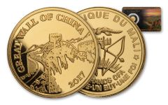 2017 Mali 1/2-gm Gold Great Wall of China – 7 Wonders of the Modern World Proof