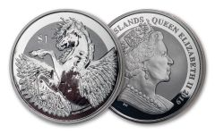 2019 British Virgin Islands $1 1-oz Silver Pegasus Reverse Proof