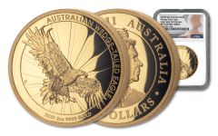 2019 Australia $200 2-oz Gold Wedge Tailed Eagle High Relief NGC PF70UC First Releases - Mercanti Signed Label