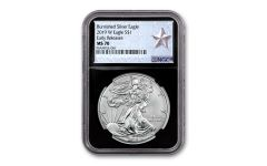 2019-W $1 1-oz Burnished Silver American Eagle NGC MS70 Early Releases - Black Core, Silver Star Label