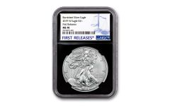 2019-W $1 1-oz Burnished Silver American Eagle NGC MS70 First Releases - Black Core