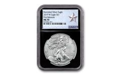 2019-W $1 1-oz Burnished Silver American Eagle NGC MS70 First Releases - Black Core, Silver Star Label