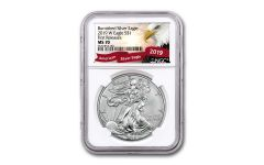 2019-W $1 1-oz Burnished Silver American Eagle NGC MS70 First Releases - Eagle Label