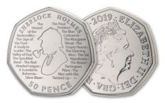 2019 Great Britain 50 Pence 8 Gram CuNi Sherlock Holmes 160th Anniversary BU