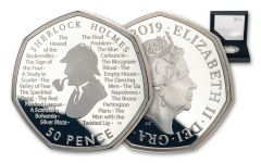2019 Great Britain 50 Pence 8 Gram Silver Sherlock Holmes 160th Anniversary Proof