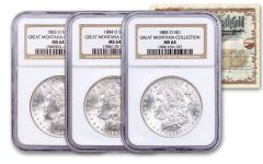 1883–1885-O $1 Morgan Silver Dollar Great Montana Collection 3-pc Set NGC MS64 w/Mammoth Gold Mining Stock Certificate