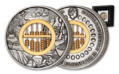2019 Tuvalu $2 2-oz Silver Abacus Antiqued Coin