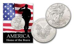 2019 1 Dollar 1-oz American Silver Eagle BU Home of the Brave Card