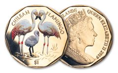 2019 British Virgin Islands $1 8-gm Virenium® Chilean Flamingo Proof