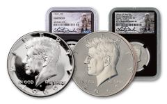 1969–2019-S Kennedy Half Dollar Moon Landing NGC Gem Proof–PF70 First Day of Issue 2-Coin Set w/Charlie Duke Signature