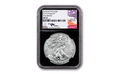2019-W $1 1-oz Burnished Silver Eagle NGC MS70 Early Releases w/Black Core & Mercanti Signature