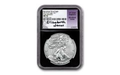 2019-W $1 1-oz Burnished Silver Eagle NGC MS70 Early Releases w/Black Core & Jones Signature