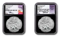 2019-W $1 1-oz Silver Burnished Eagle NGC MS70 Early Releases Mercanti-Jones Signed 2-pc Set w/Black Core