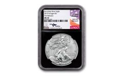 2019-W $1 1-oz Burnished Silver Eagle NGC MS70 First Releases w/Black Core & Mercanti Signature